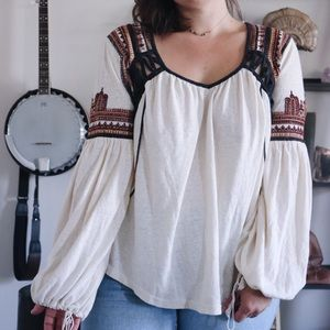 Free People Snow Kisses Embroidered Peasant Top